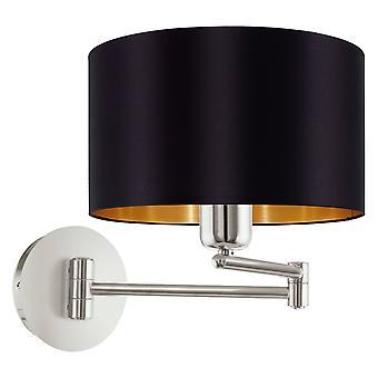 1 Light Indoor Wall Light Black Satin Nickel, E27