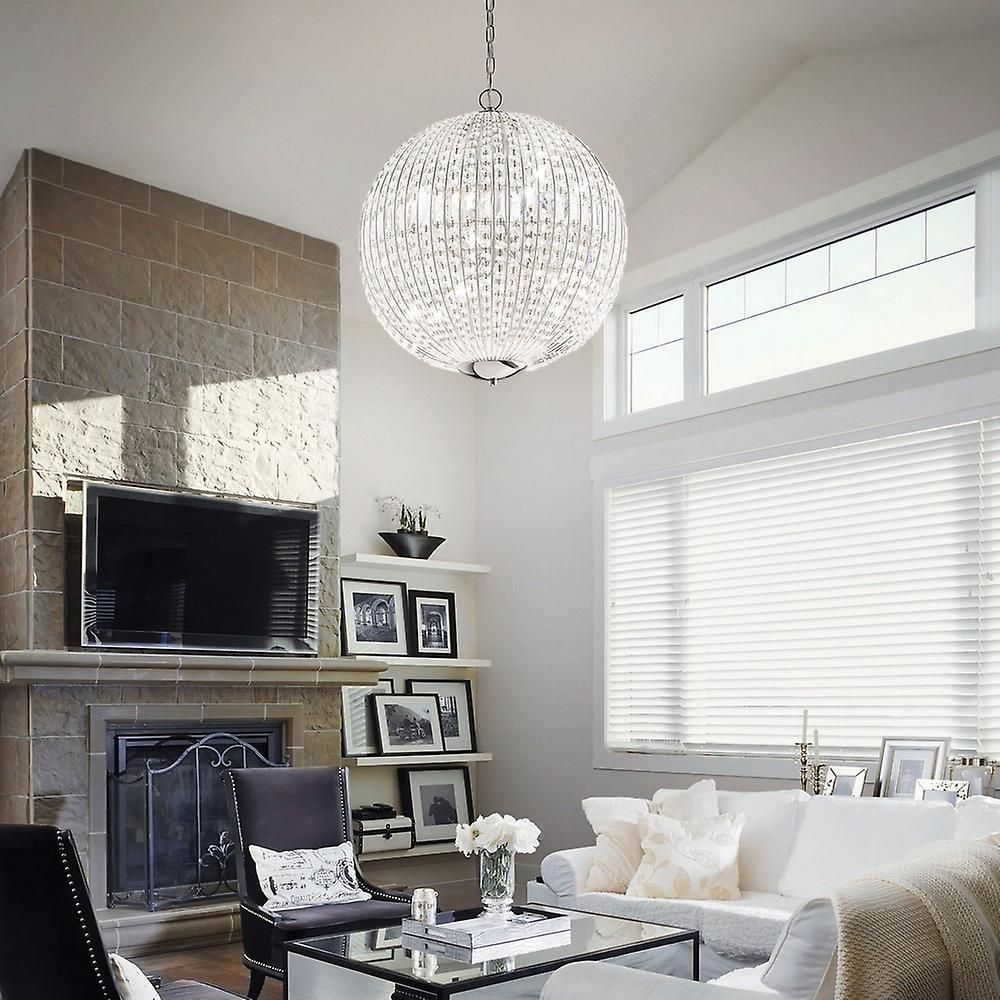 6 Light Small Ceiling Pendant Chrome with Crystals, G9