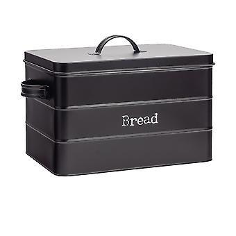 Industrial Bread Bin - Vintage Style Steel Kitchen Storage Caddy with Lid - Black