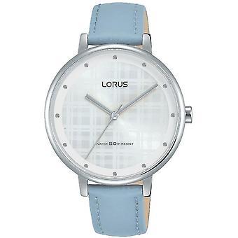 Lorus Damen blau Leder Armband Uhr mit weißen Sunray Zifferblatt und Silber Futter