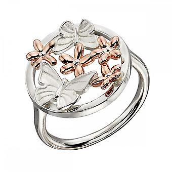 Elements Silver Satin Finish Butterfly Rose Gold Flowers Ring R3697