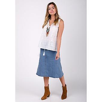 Kim stretch denim flared skirt - palewash