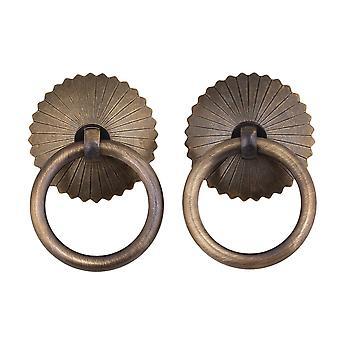 2pcs 4cm Dia Brass Round Bronze Cabinet Door  Pull Handle