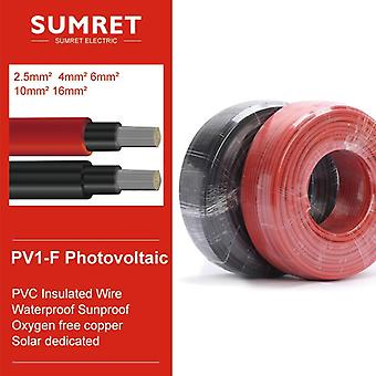 Solar Power Photovoltaic Cable Pv1-f 4/6/8/10/12/14awg Red Black Xlpe Jacket Tuv Ul