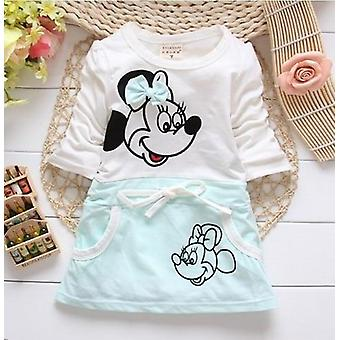 Cute Minnie Stitching Dress Pure Cotton Long Sleeve Female Baby Cartoon Print Mini Knee