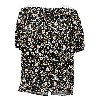 Martha Stewart Mujeres's Plus Top Floral Off-the- Hombro Negro A309971