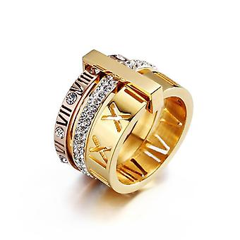 Women Stainless Steel Gold/silver Color Roman Numerals Finger Rings For Wedding