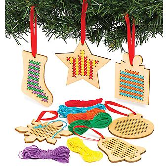 Baker ross christmas wooden decoration cross stitch kits — ideal for kids' arts and crafts, gifts,