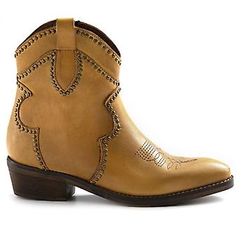 Zoe Old Yellow Texan Ankle Boots In Leather With Studs and Embroidery