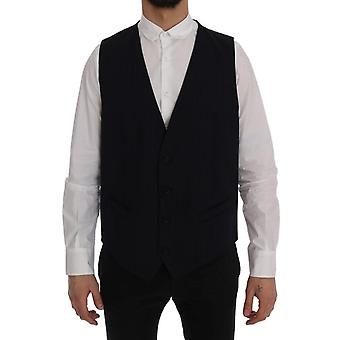 Dolce & Gabbana Blue Staff Wool Stretch Vest