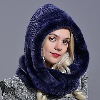 Zimní teplá novinka Pletená kožešinová šála Klobouk
