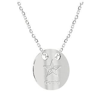 Ah! Jewellery Highly Polished Sterling Silver Engraved 'Gemini' Star Sign Necklace, Stamped 925