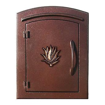 """Manchester No-Locking Column Mount Mailbox With """"Decorative Agave Logo"""" In Antique Copper"""