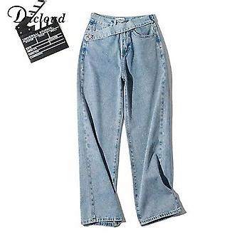 Women's Fake Belt Jeans Buttons Straight Pants High Street Denim Loose