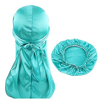 Silky Durag And Bonnet Set And Women, Long Tail Du-rag Waves Cap Turban