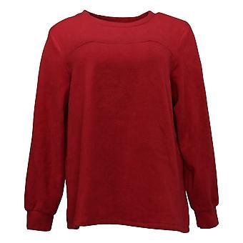 Cuddl Duds Women's Sweater Fleecewear Stretch Crew Pullover Red A381759