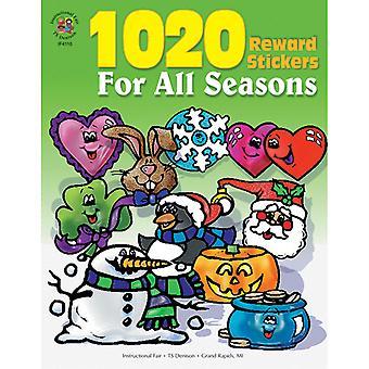1020 Autocollants de récompense pour tous les saisons Sticker Book Grade Pk-6 Livre de poche