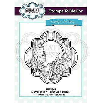 Kreative uttrykk Natalie's Christmas Robin Pre Cut stempel Co-ords med CED3149