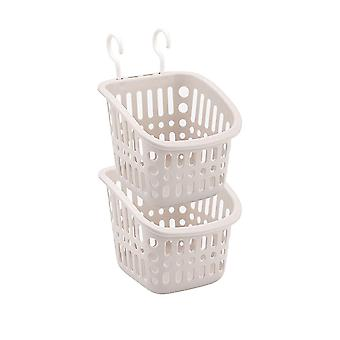 Square plastic double hook type storage basket, Plastic hanging storage basket 2pcs