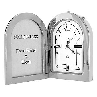 GTP Miniature Unisex Arch Photo Frame Chrome Plated on Solid Brass Novelty Collectors Mantle Piece Shelf Alarm Clock IMP1051/S