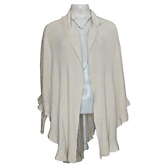 Colleen Lopez Women's Sweater Open Front Ruffle Poncho White 731238