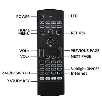 Mx3 air mouse smart voice remote control ir learning 2.4g rf wireless mini keyboard backlit for smart android tv box laptop pc