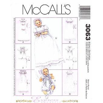 McCalls ompelu kuvio 3063 6221 Vauvan ristiäiset Puku Rompers Konepelit Koko NB-L