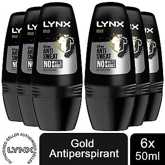 6 Pack Lynx 48-Hour Dry Anti-Perspirant Deodorant Roll-On, Gold, 50ml