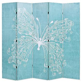 vidaXL غرفة مقسم قابل للطي 200 × 170 سم فراشة الأزرق