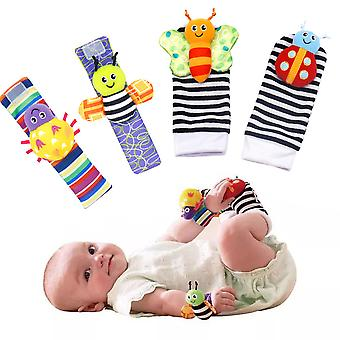 4pcs Ladybug Bee Soft Wrist Rattle And Foot Finder Set Enlightenment Toy For Infant