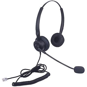 FengChun Telefon Headset RJ11 Binaural mit Noise Cancelling Mikrofon, Festnetztelefon Kopfhörer