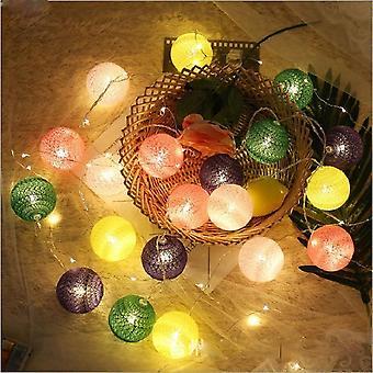 20 Led Cotton Ball Garland Christmas Fairy Lighting String