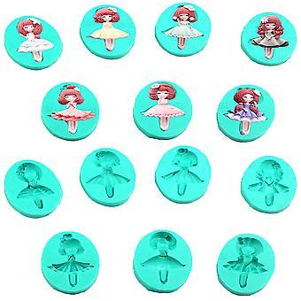 7pcs Princess Doll Fashion Girl Fondant Cake Mold Silicone Moule au chocolat Moule