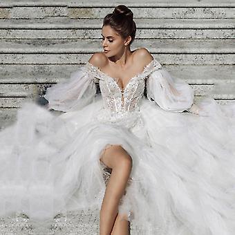 Off The Shoulder Appliques Lace Puffy Sleeves Robe de mariée