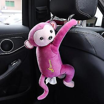 Pink pippi monkey paper napkin case cute cartoon animals car paper boxes x2762