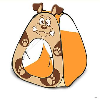 New Kids Playing Pop Up Tent Kids Tent House Cartoon Dog Style Indoor Kids Tent House Brown ES9393