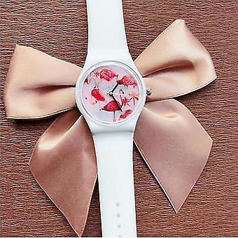 Pre DF-0308 Flamingo Dámske náramkové hodinky Silikónový popruh Quartz Pohyb hodinky WS40144