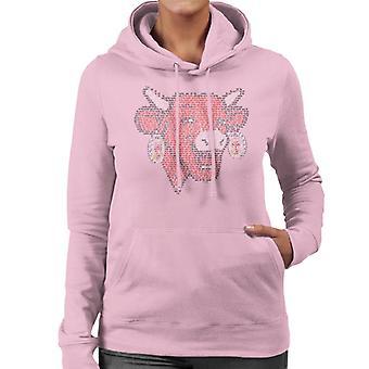 Den grinende ko La Vache Qui Rit skitsere kvinders hætteklædte sweatshirt