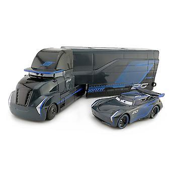 2pcs Racing Car 3 Black Storm Jackson Container Trailer Truck Alloy Truck Mcqueen Mack Toy