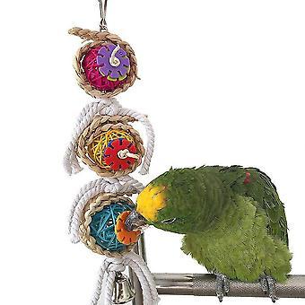 papegøye fugl leker bite leketøy rotting ball vri streng