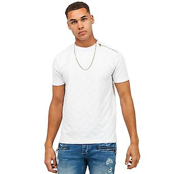Glorious Gangsta   1048 Delmer Flock Print Allover Shoulder Zip Half Sleeve T-shirt