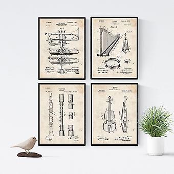 Vintage Musikinstrument Patent Poster 4er-Set. Vintage Stil Wanddekoration Abbildung von Konzert und