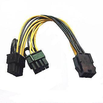 PCI-E 6-pin to Dual 6+2-pin (6-pin/8-pin) Power Splitter Cable Graphics Card PCIE PCI Express 6Pin