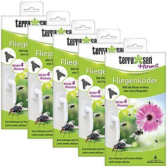 Sparset: 5 x TERRASAN HOME Fly Bait Flower, 4 pieces