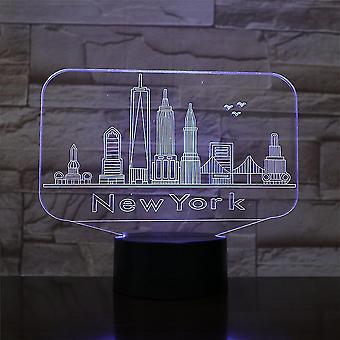 New York City 3d Led Night Light Soveværelse Bordlampe Farveskift