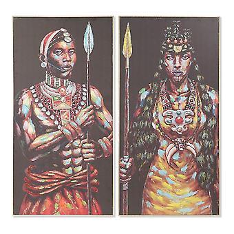 Tavla DKD Home Decor Kanvas Afrikan (2 pcs) (60 x 5 x 120 cm)