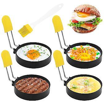4pcs Anéis de ovo fritos anéis de cozimento panqueca molde com alça anti-escaldante com escova de óleo