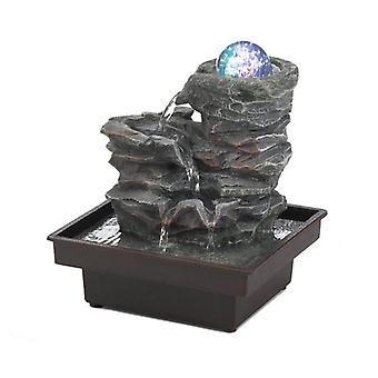 Cascading Fountains Rock Formation Tabletop Water Fountain with Lighted Glass Orb, Pack of 1