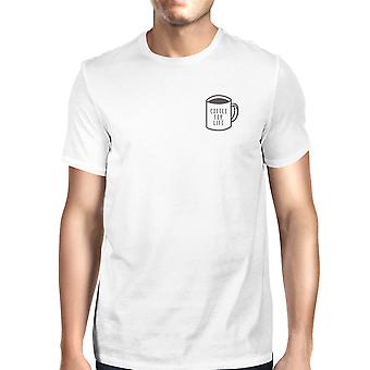 Кофе для жизни Pocket унисекс белая футболка милый типографские Tee