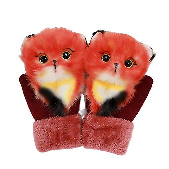 قفازات الكرتون الشتاء سميكة التزلج الدافئ الحيوان Mittens هدية عيد الميلاد للنساء الأطفال